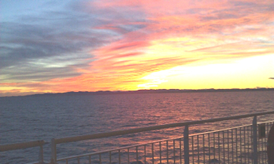 Dawn on the Spirit of Tasmania coming into Devonport on my way to the Tasmanian Craft Fair